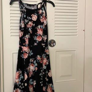 a black flowery dress